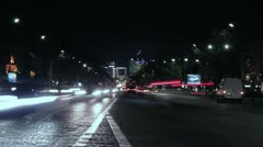Paris night traffic. Stock Footage
