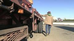 Trucker, truck stop Stock Footage