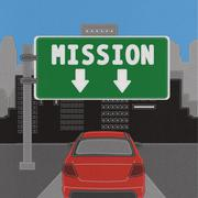 mission sign concept with stitch style on fabric background - stock illustration