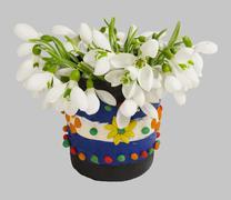 Snowdrops in the vase Stock Photos