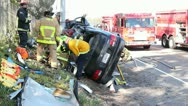 Gnarly Car Accident Rescue 1 Stock Footage