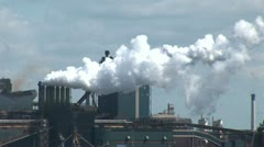 The Industrial Port Of Ijmuiden-Chimneys, smoke and pollution Stock Footage