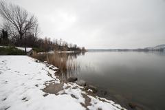 Lake under the snow Stock Photos