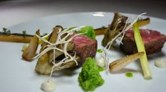 Gourmet restaurant food beef - stock footage