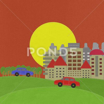 Stock Illustration of modern building with stitch style on fabric background
