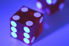 Art activity blue die dye gambling hobby number Stock Photos