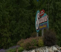 Sicamous Sign hand held Stock Footage