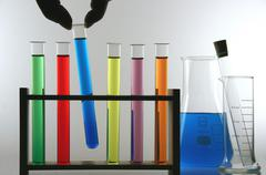 hand artificial biological chemistry clear code - stock photo