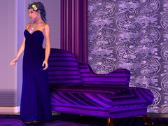 Lady in lilac room Stock Illustration