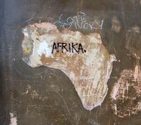 Art african asylum seeker board continent map Stock Photos
