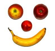 fruit face apple banana bio biological eat - stock photo