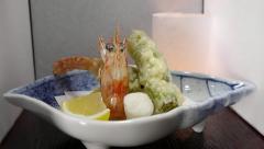 Gourmet restaurant food Japanese Tempura shrimp Stock Footage