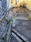 art narrow lane rise road traffic stair symbol - stock photo