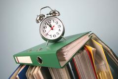 Alarm clock archive arrange contract descision Stock Photos