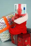 christmas birthday arm band bill bow budget - stock photo
