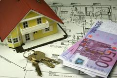 House home arm balance bill budget building Stock Photos
