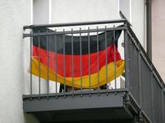art banner flag germany photo symbol balcony - stock photo