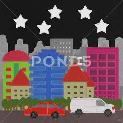 Stock Illustration of morden building with stitch style on fabric background