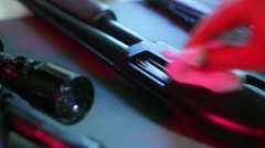Cleaning gun polish polishing Stock Footage