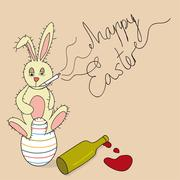 Humor happy easter bunny Stock Illustration