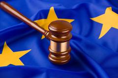 Banner court descision equality european flag Stock Photos