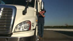 Truck driver, long haul,back spazam Stock Footage