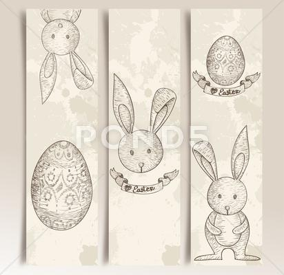 Stock Illustration of vintage easter bunny banner set