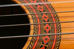 music art classical guitar macro musical chords - stock photo