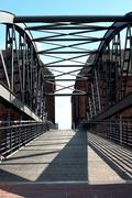 Water shadow steel bridge in ascent aspect Stock Photos