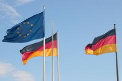 Europe sky flags germany cloud ensigns flag Stock Photos
