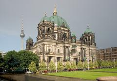 Stock Photo of tree cathedral meadow in berlin germany church