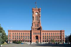 Politics road tower window red cityhall berlin Stock Photos