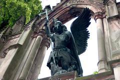 Angel belief column dragon esoteric legend sky Stock Photos
