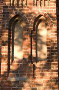 monastery sky wall window walled up aspect brick - stock photo