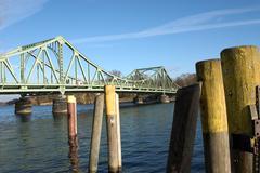 water navigation steel glienicker bridge aspect - stock photo