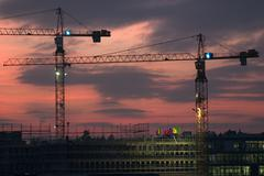 Scaffold sunset building site road works build Stock Photos