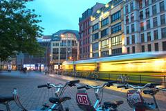 Stock Photo of city centre view db evening german federal road