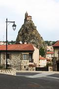 lantern church rock france le puy light point - stock photo