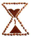 food coffee break clock bean hourglass symbol - stock photo