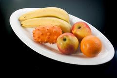 Food fruit apple banana fresh health kiwano flag Stock Photos