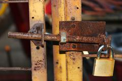Chain citadel defect door locked lock bar bolt Stock Photos