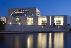Stock Photo of office government building modern night exposure