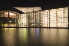 house concrete glass fassade modern paul loebe - stock photo