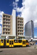 House hotel skyscraper tram bauhaus alexander Stock Photos