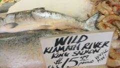 King Salmon Fresh at Market Stock Footage
