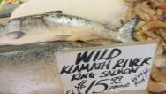 Stock Video Footage of King Salmon Fresh at Market