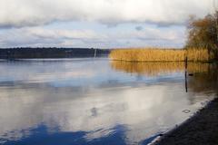 Water winter bank cold horizon reed river sky Stock Photos