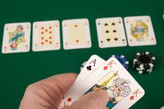 Addiction cardgame contest duty gambling green Stock Photos