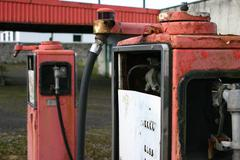 Broken decayed defect desolate diesel gas petrol Stock Photos