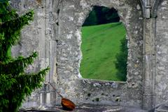 music art lute ruin wall window in castle ruine - stock photo